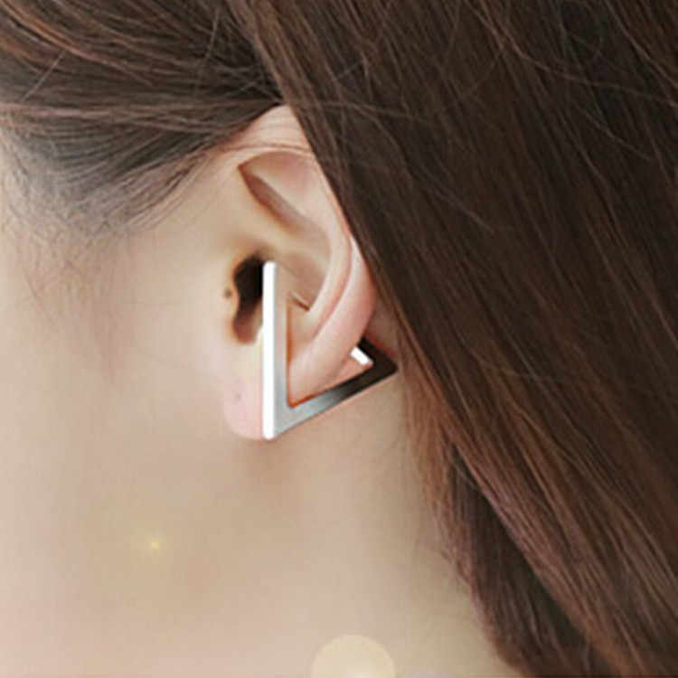 Fashion Women Charm Opening Triangular Big Earrings Trendy Metal Gold Sliver Plated Earing Jewelry Accessories Gift