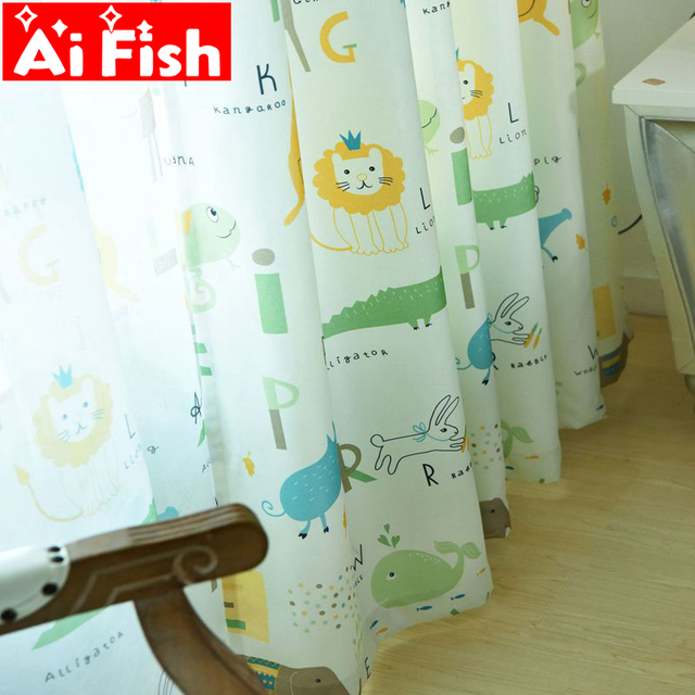 Simple Modern Nordic Green Sheer Panels Personality Curtains For Living Room Pink Animal Park Cartoon Children