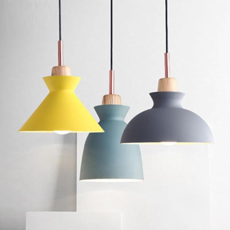 Nordic nowoczesny minimalistyczny restauracja, kawiarnia, lampa stołowa, kolor aluminium, ma Caron kolor pojedyncze głowy żyrandol. w Wiszące lampki od Lampy i oświetlenie na Skyline-KPWY Houseware Store