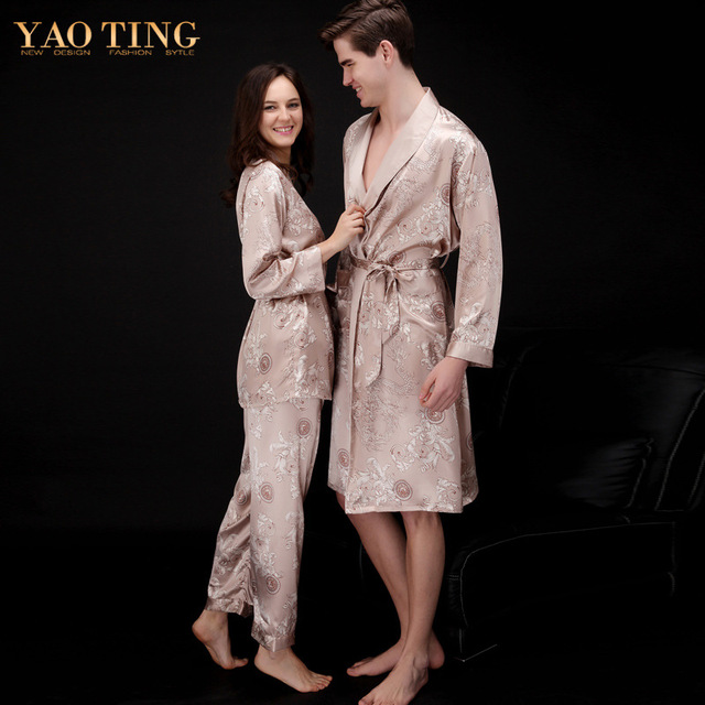 YT4 2017 Spring and Autumn Lady Pajamas Set Sexy Long Sleeve Faux Silk Sleepwear Couple Pajamas Lover Women 3 Pieces Night Gown