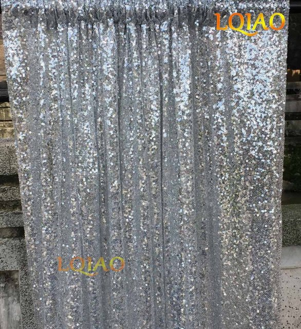 4ftx6ft Silver Shimmer Sequin Fabric Photo Booth Backdrop Curtains Panels Photography Wedding Photobooth Background Decor
