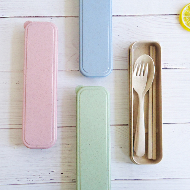 Reusable x Biodegradable Wheatstraw Spoon, Fork & Chopsticks Set