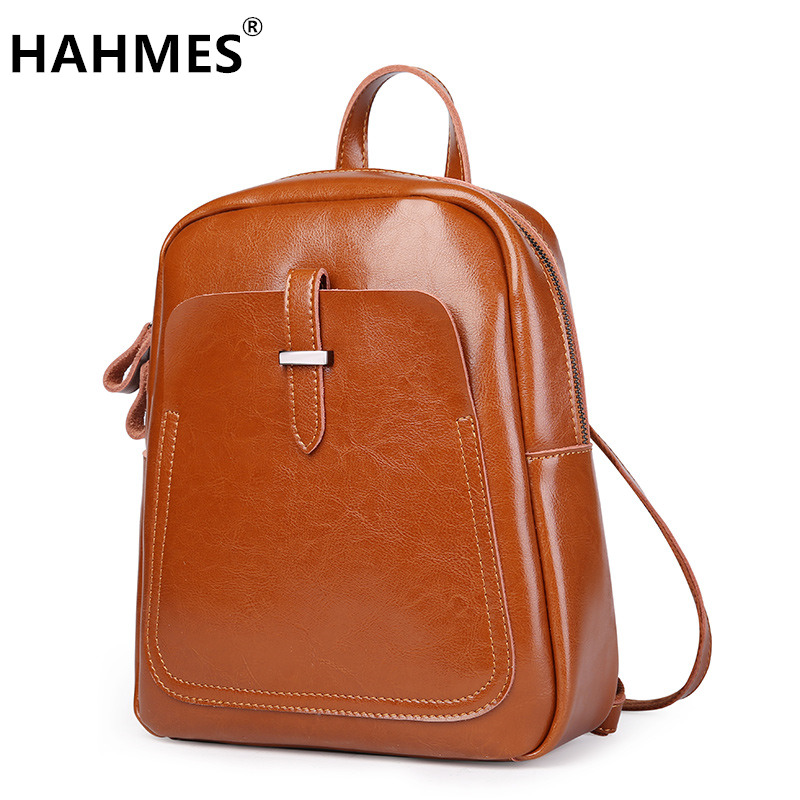HAHMES High quality Genuine leather Women's backpack simple design casual daypacks Travel Bags Cow leather School Bag 10948 hahmes 100