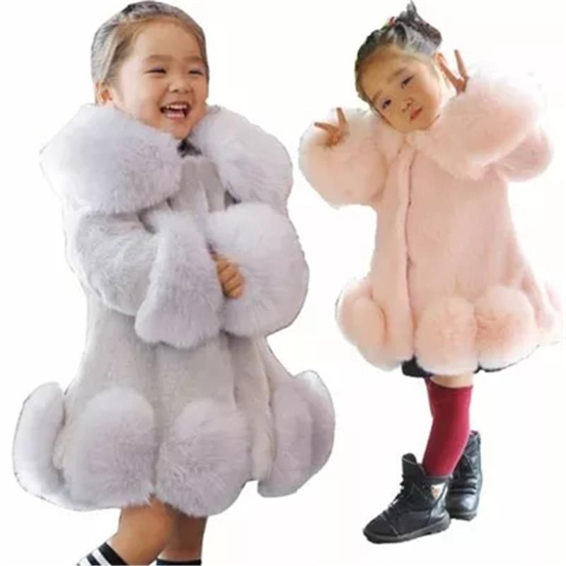 2018 New Winter Girls Fur Coat Kids Elegant Jacke Baby Girl Faux Fur Jackets Coats Thick Warm Parka Kids Boutique Clothes M02 цена