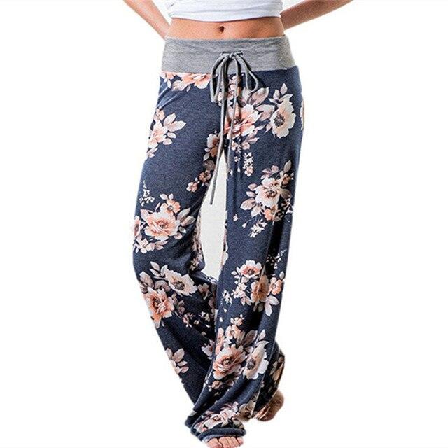 5edd4c0c880 Causal Women Spring Summer Floral Print Long Pants 2019 Drawstring Wide Leg  Pants Loose Straight Trousers Plus Size Trousers