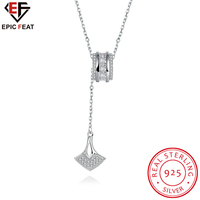 EPICFEAT Charming Silver Anchor Necklace Pendants For Women With Double Layer Ring Inlaid Zircon Lady Engagement