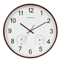 Geekcook 12 Inch Classic Wooden Wall Clocks Silent Quartz Thermometer Hygrometer Humidity Non Ticking For Living Room Office