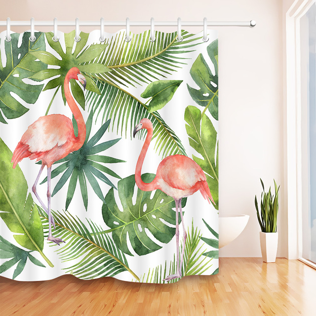 Tropical Palm Jungle Hawaii Summer Plants Pink Flamingo Print Shower Curtain Bathroom Polyester Decor Free