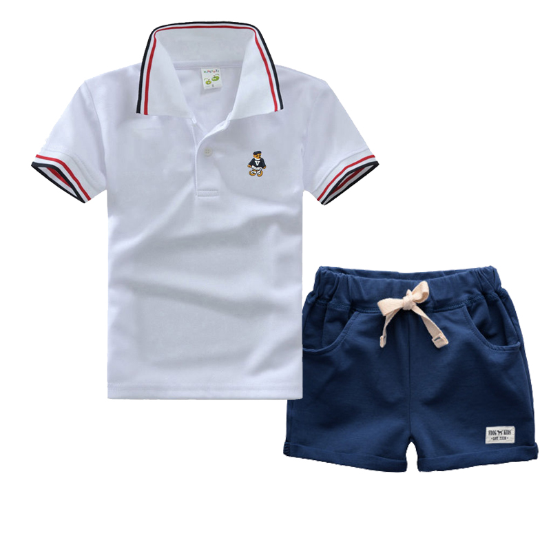 High Quality Boys Clothing Set For Summer  Baby Kids Polo Shirt  Short Sleeve Cotton T-Shirts + Black Short Pants