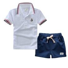 Haute qualité garçons vêtements set pour l'été bébé enfants polo chemise à manches courtes coton t-shirts + noir pantalon court