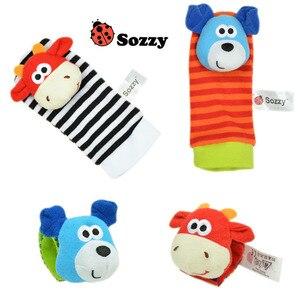 Image 2 - Sozzy chaussettes en peluche pour nouveau né, pour bébé, jouets, jolis motifs animaux, hochet de dessin animé