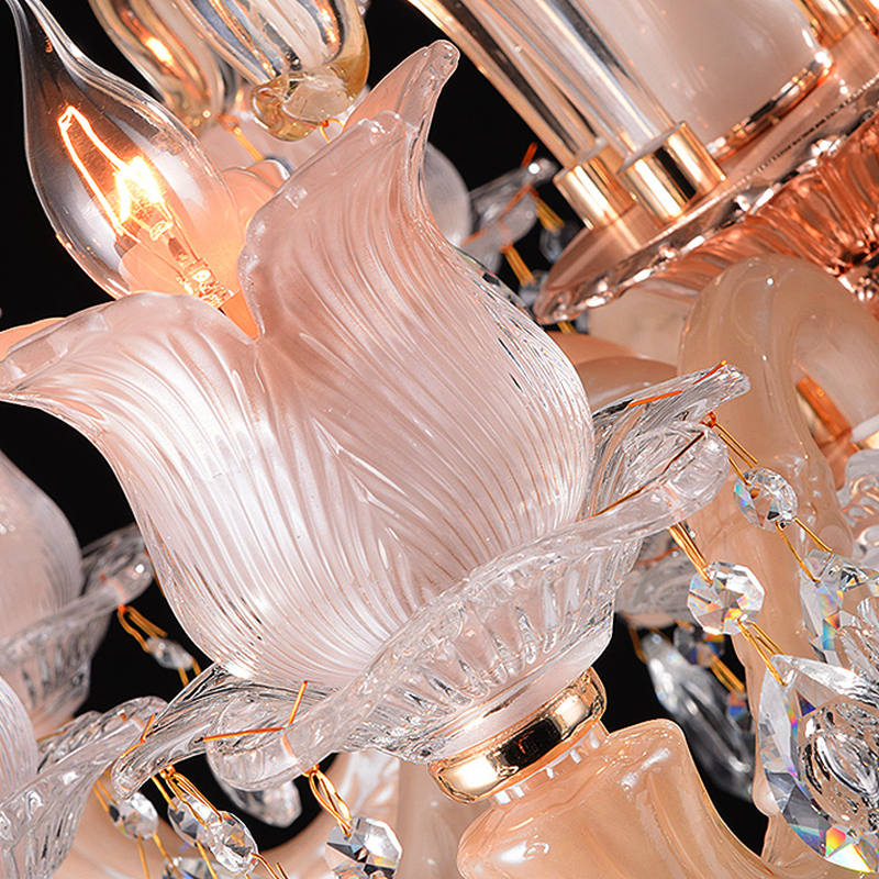 Modern Pink Crystal Chandeliers Dining Room Living Lobby lamp ...