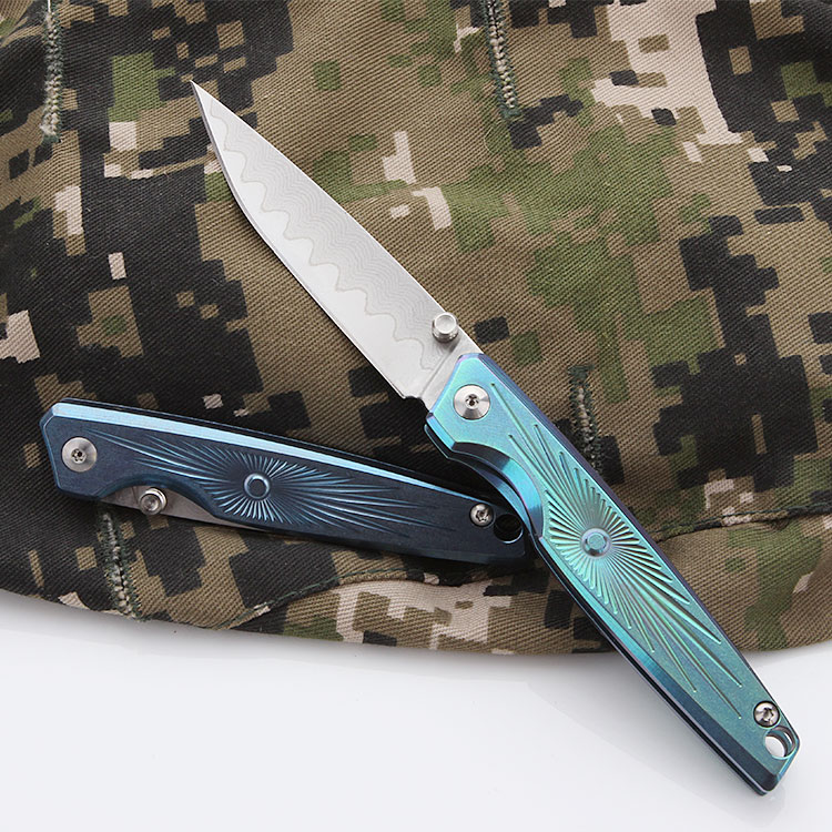 CH Mini Folding Knife With titanium Handle Pocket Knife With VG 10 Blade free shipping Tactics Survival Hunting knife Men Gift in Knives from Tools