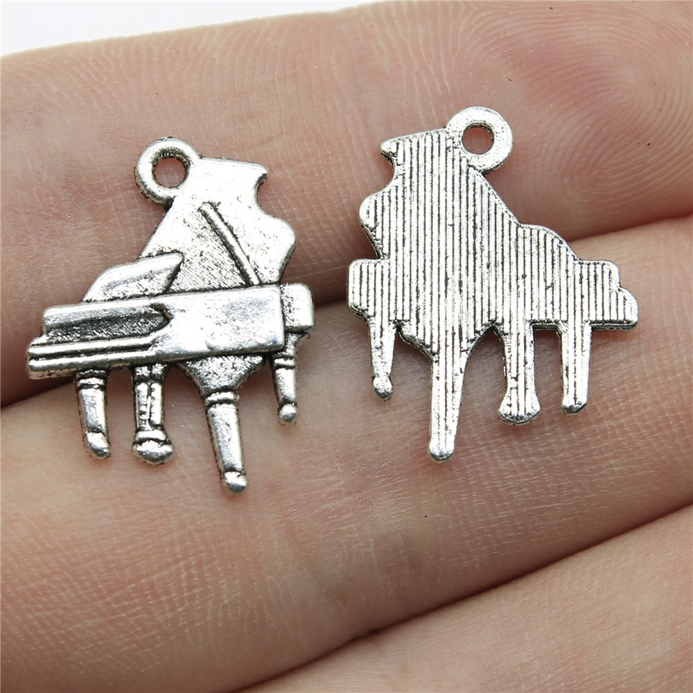 30pcslot Piano Charms For Jewelry Making 0.8x0.6 inch (21x16mm) Antique Silver Plated Accessories