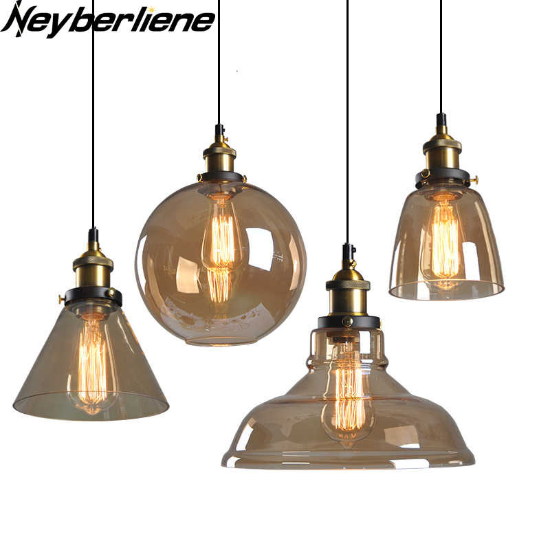 Vintage Pendant Lights Cord Glass Pendant Lamp Nordic Light fixtures E27 Hanging Lighting For Living Dining Room Home Loft Decor