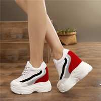 Bling Shoes 2018 Autumn Wedges Shoes Woman Platform Sneakers Lace Up Hidden Heel Height Increasing 11cm Casual Shoes For Women