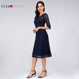 Image 3 - Navy Blue Lace Cocktail Dresses Ever Pretty EZ07665NB See Through Half Sleeves Knee Length vestidos mujer 2020 cocktail Elegant