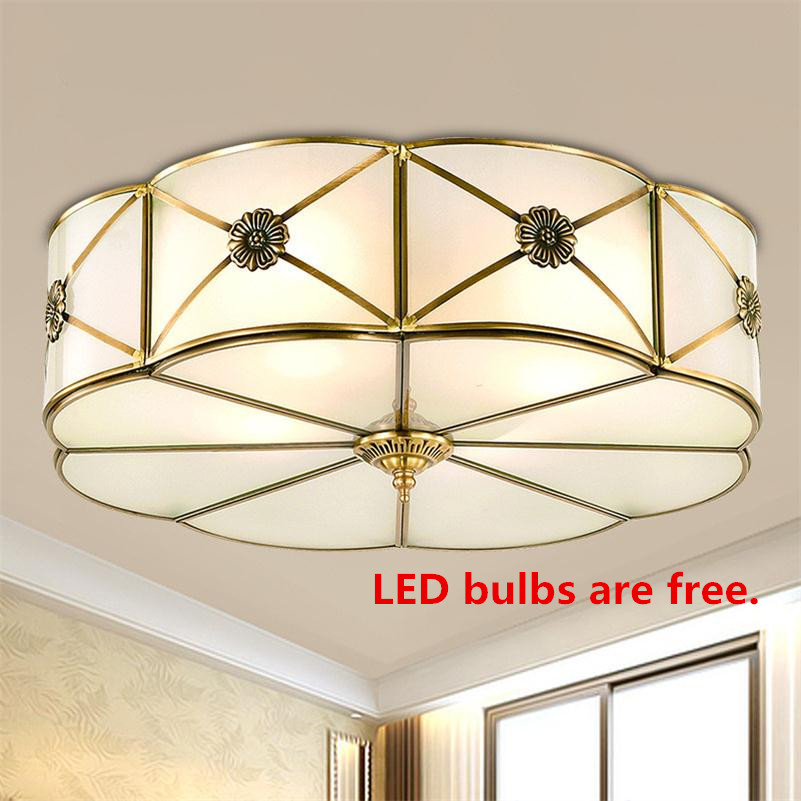 European Copper Ceiling Lights Lamparas De Techo Lustre Luminaria Abajur Vintage Luxury Living Room E27 Home Lighting Fixtures new vintage ceiling lights lamparas de techo lustre luminaria abajur ceiling lamp home lighting avize luminaire living room