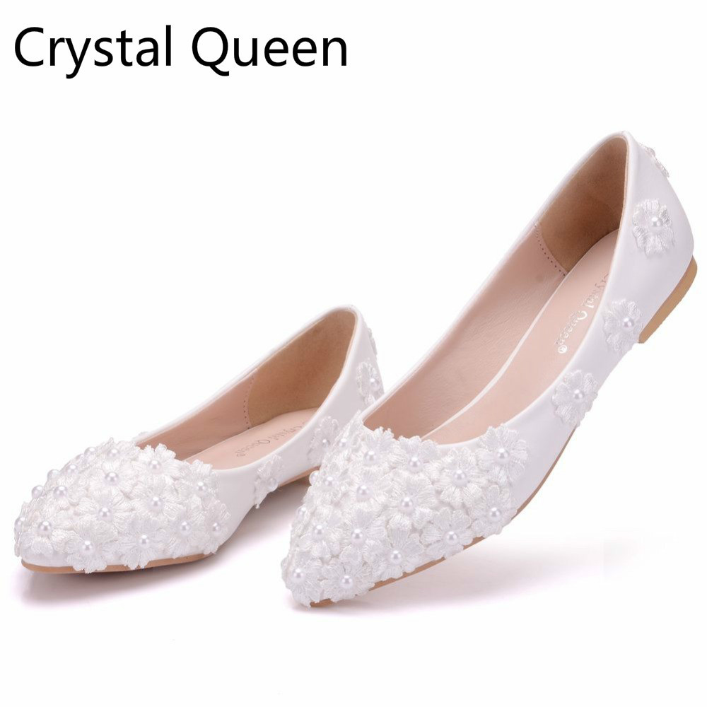 Crystal Queen White Lace Wedding Shoes Flat Heels Pointed Toe Ballet Flats Women Bridal Party Las Plus Size 43