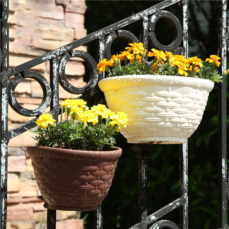 Image 1 - Imitation Wicker Rattan Hanging Basket Holder Half Round Planter Flowerpot Vase Garden Balcony Home Office Decoration Hot 2019-in Flower Pots & Planters from Home & Garden