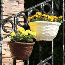 Imitation osier rotin suspendu porte panier demi rond planteur pot de fleurs Vase jardin balcon maison bureau décoration chaude 2019