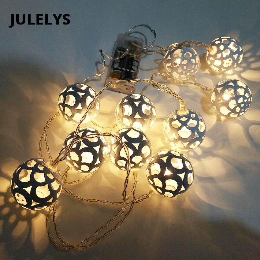 JULELYS 1,5 м 10 лампы АА Батарея питание светодиодный мяч Строка Рождественские огни Гирлянды Гирлянда огней украшения для праздника Спальня