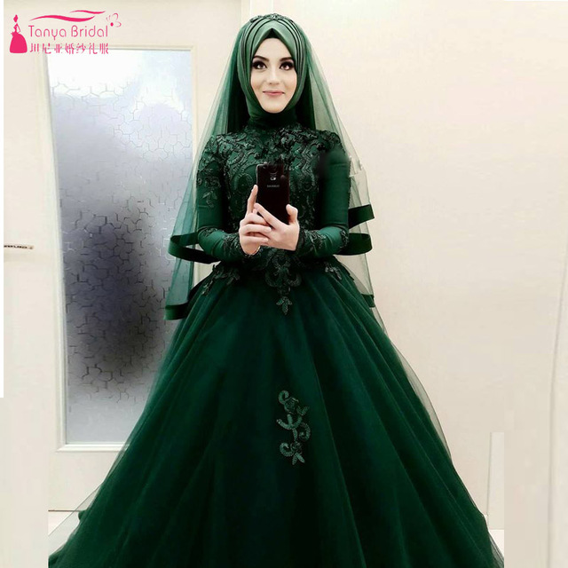 Amazing Beautiful Dark Green Wedding Ball Gowns African Hijab Bridal Dresses Long Sleeve Vestido De Noiva
