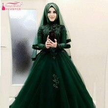 Amazing Beautiful Dark Green Wedding Ball Gowns African Hijab Bridal Dresses Long sleeve Vestido De Noiva Z918