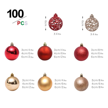 100pcs 3/4/6CM Christmas Tree Decor Ball Bauble Xmas Party Hanging Ball Ornament decorations for Home Christmas decorations