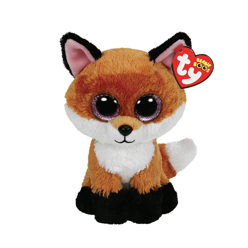 Ty Beanie Boos 6-Inch Slick Brown Fox Plush ty collection beanie boos kids plush toys big eyes slick brown fox lovely children gifts kawaii stuffed animals dolls cute toys
