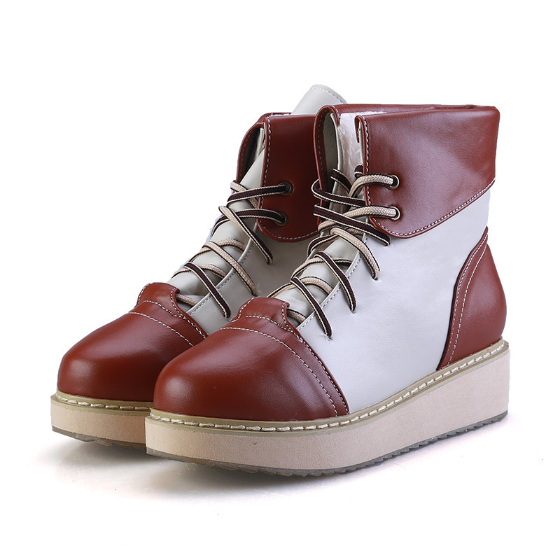 3 colors Fashion Autumn Winter Boots plush warm New Women Flat Ankle Snow Boots Female Motorcycle Lace-Up Shoes Plus size new 2017 fashion female warm ankle boots lace women boots snow boots and autumn winter women shoes