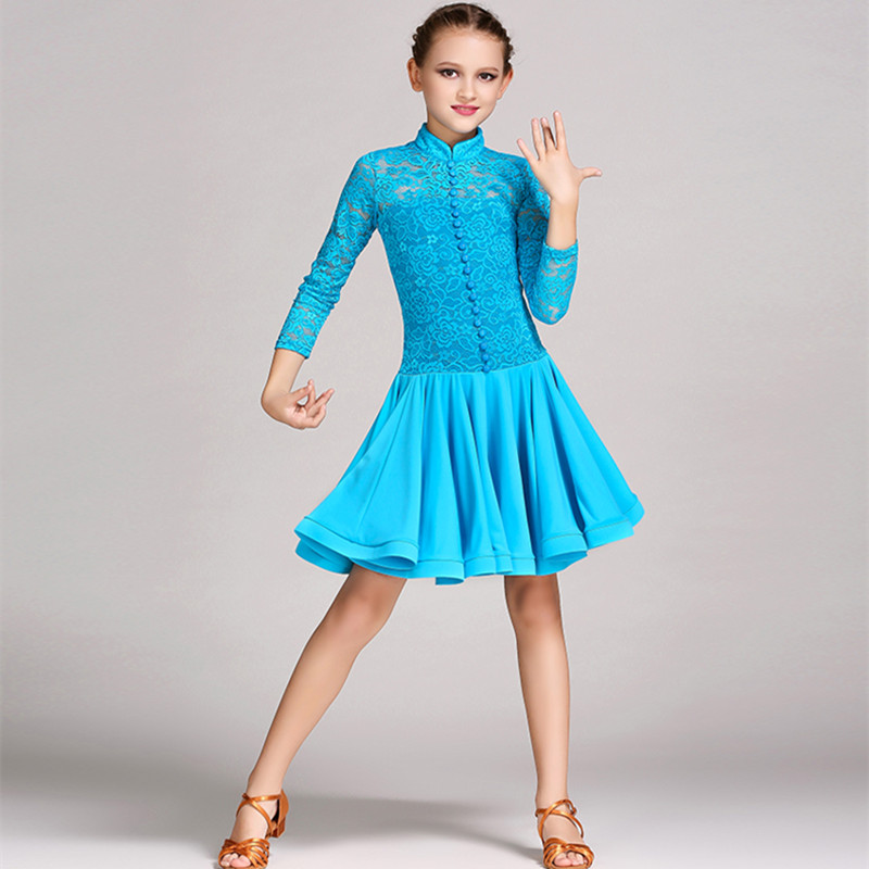 Picture of 3 Colors Blue Lace Latin Dress For Girls Dance Costume Children Latin Dance Dress Kids Salsa Dresses Red Tango Rumba