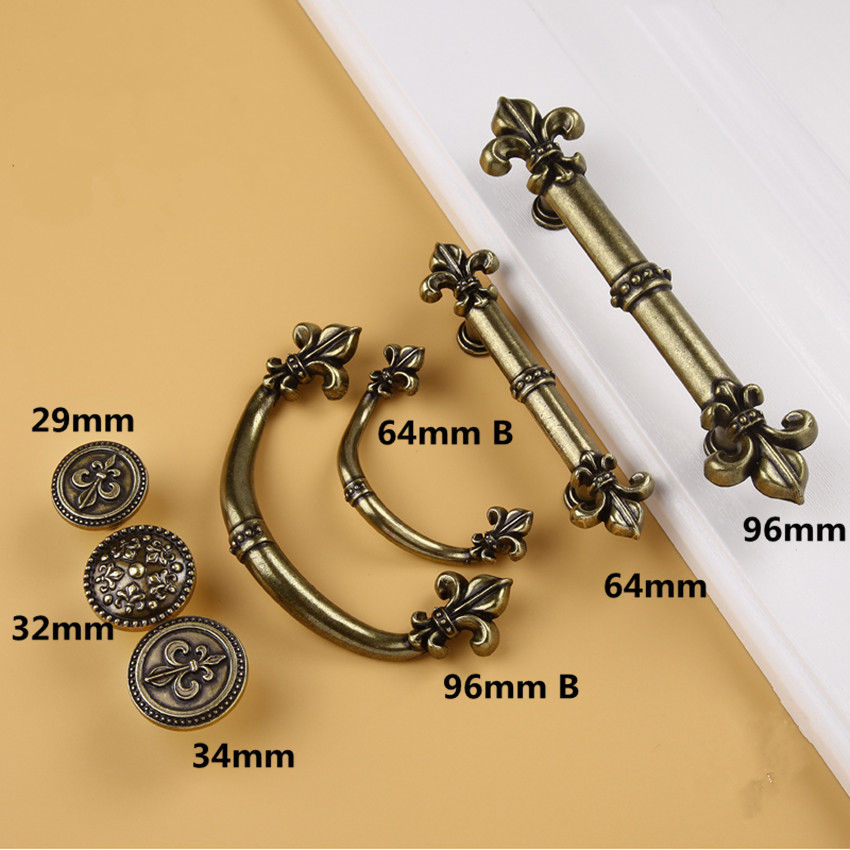 96mm 64mm rusic retro furniture handles bronze dresser kitchen cabinet door handles antique brass drawer bedside table knobs ...
