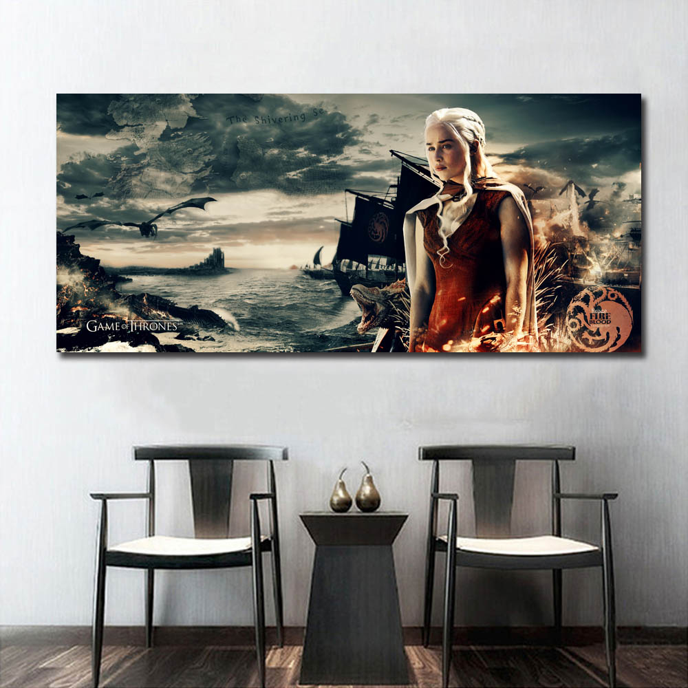 Game Of Thrones Khaleesi Silk Poster Daenerys Dragons Prints House Targaryen Wall Art Decorative Picture TV Picture Artwork