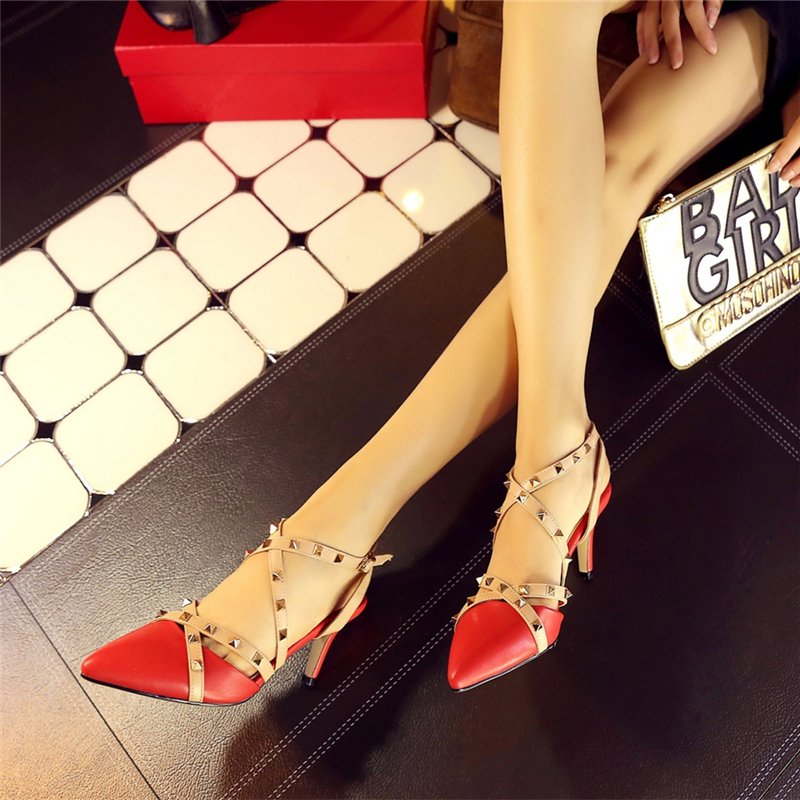 ФОТО New Fashion Brand Designer Fashion Rivet Ankle Strap Sandals Shoes Women Sexy Ladies High Heels 100% Leather Party Dress Shoes