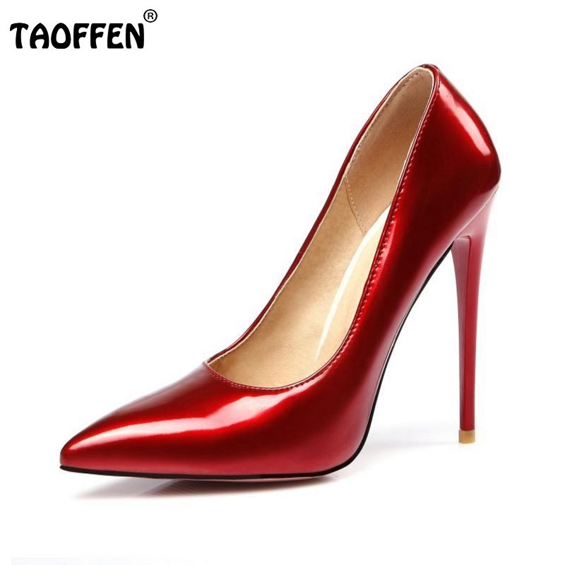 цены  Women Fashion Pointed Toe Heels Shoes Woman Sexy Shallow Mouth Stiletto Woman Patent Leather Wedding High Heel Pumps Size 34-47