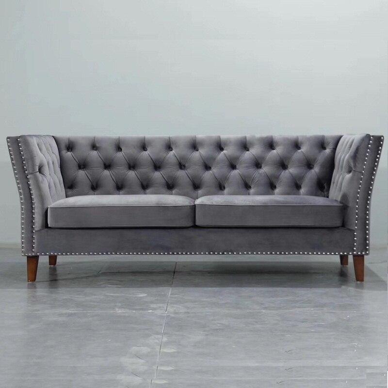 Admirable U Best Modern Grey Blue Velvet Chesterfield Tufted Sofa Machost Co Dining Chair Design Ideas Machostcouk
