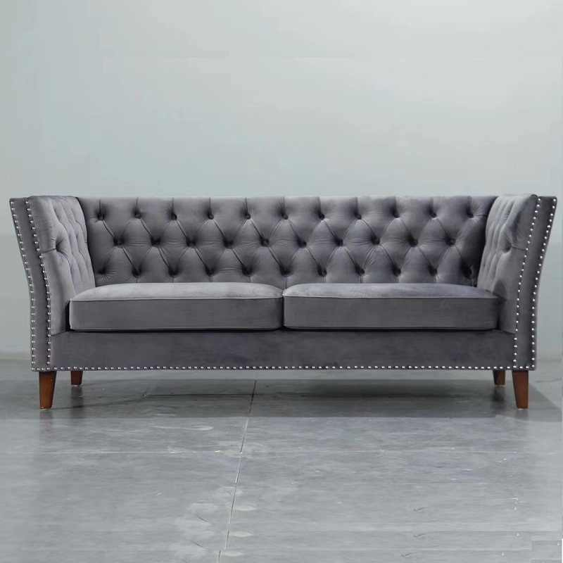 U BEST Modern Grey /Blue Velvet Chesterfield Tufted Sofa ...