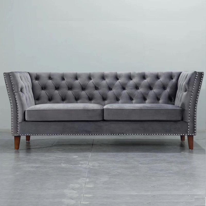 U BEST Modern Grey /Blue Velvet Chesterfield Tufted Sofa, lounge suite living room small velvet sofa set