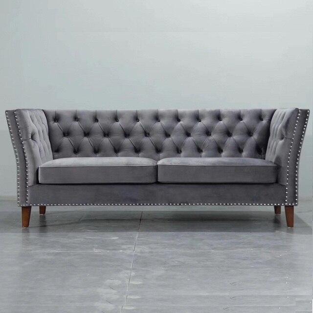 Meilleur U BEST moderne gris/bleu velours Chesterfield ...