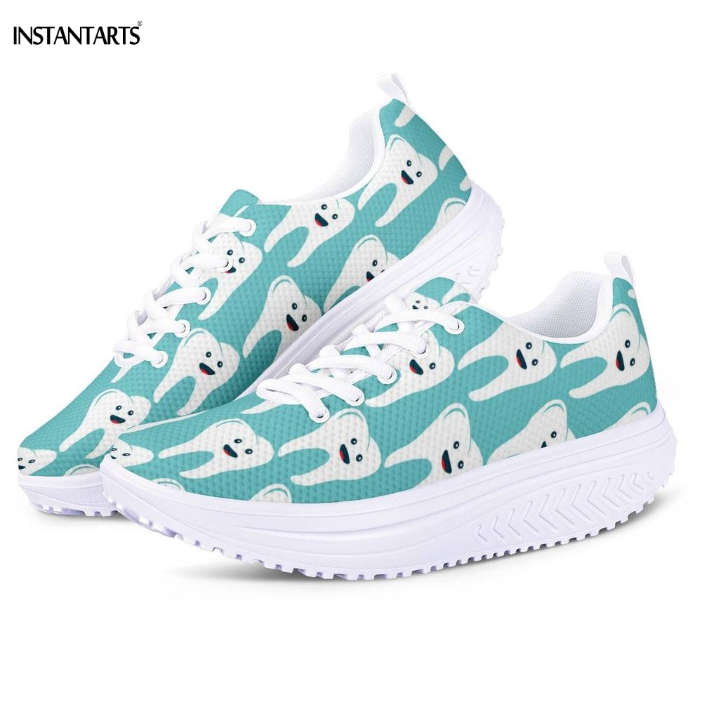 INSTANTARTS Emoji Teeth On Light Blue Pattern Platform Wedge Sneakers Mesh Fitness/Swing Shoes Ladies Workout Gym Shaping ShoesINSTANTARTS Emoji Teeth On Light Blue Pattern Platform Wedge Sneakers Mesh Fitness/Swing Shoes Ladies Workout Gym Shaping Shoes