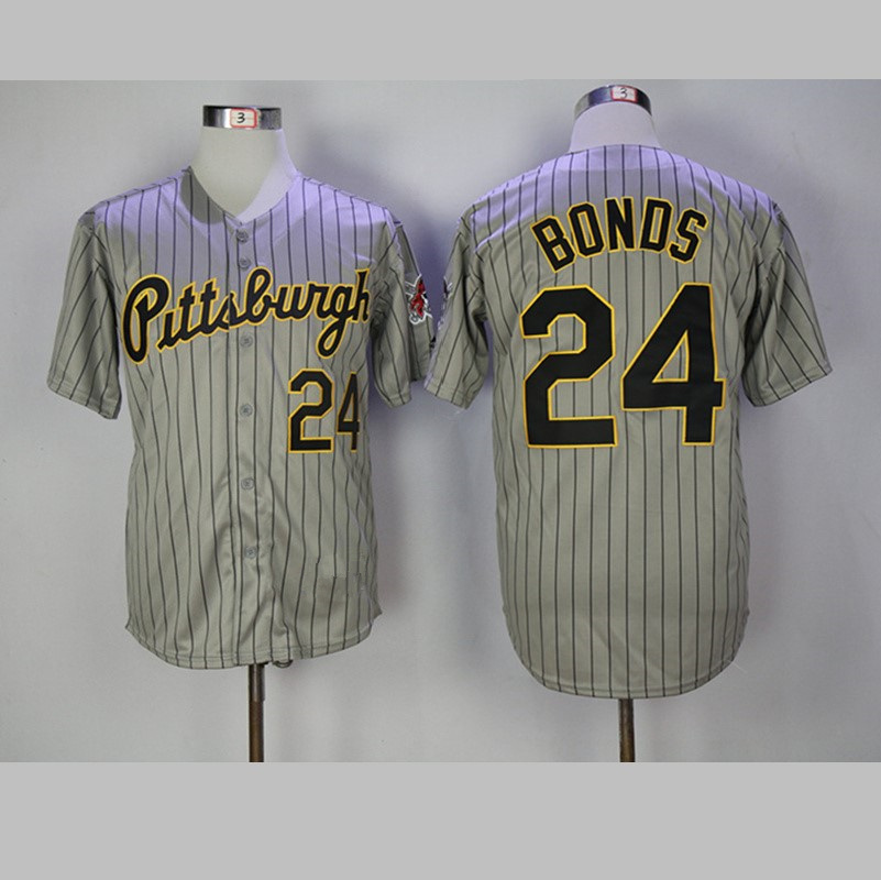 Mens Pittsburgh Barry Bonds Jersey #24 Stitched Gray Pinstriped Throwback Baseball Jersey S-3XL Free Shipping