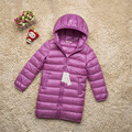 New Fashion Medium-long Winter Coat Children Clothing Girls White Duck Down Jacket Hooded 4-13 Years Parkas