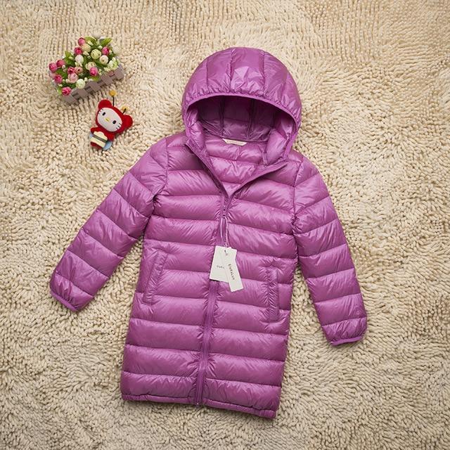 bfc5551f3 Nueva Moda Medio-largo Abrigo de Invierno Los Niños Muchachas de la Ropa de  Pato