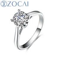 ZOCAI Настоящее 18 К из белого золота (au750) ГИА сертификат 1.0 карат Вес F-g/SI круглой огранки Обручение Для женщин кольцо w03020