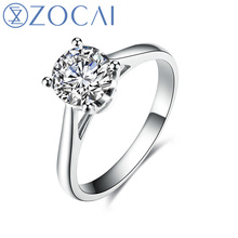 ZOCAI Real 1.0 CT Certified H/SI Round Cut Diamond Engagement Women Ring 18K White Gold (AU750) W03020 zocai brand real diamond wedding earrings 18k white gold au750 free ship jbe90254t