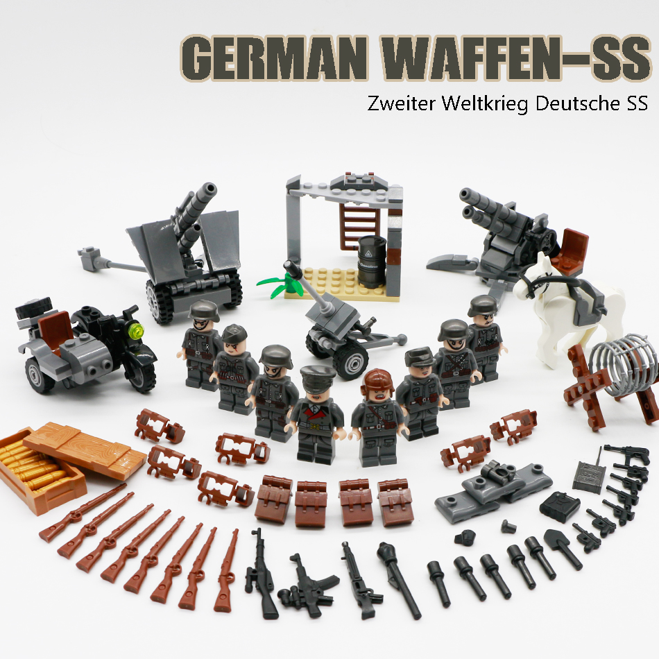 WW2 Military Building Blocks Soviet German Soldier Arms Base Weapon Gun SWAT Team Police Figure Brick Toy Compatible Legoed Army цена