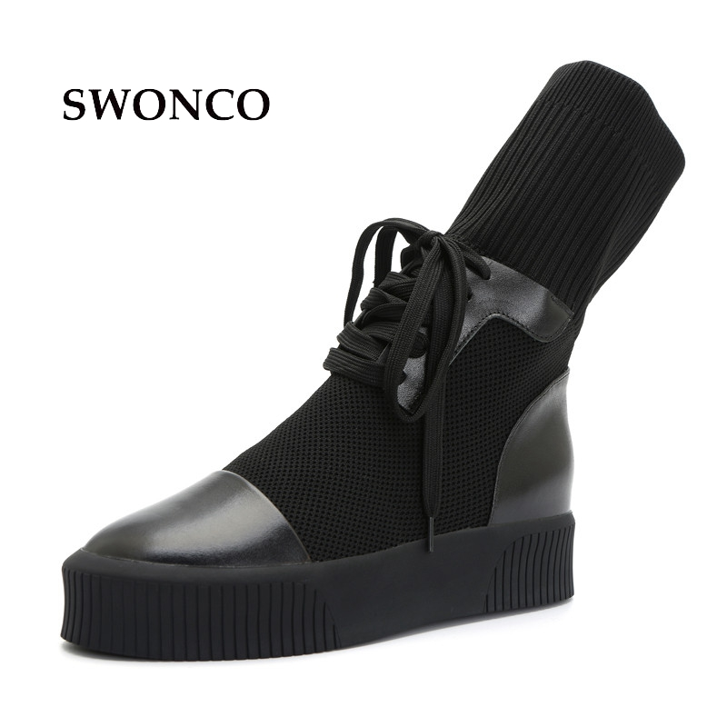 цена на SWONCO Women's Boots Autumn Genuine Leather Thick Sole Ladies Boot Black Leather Boots Women Casual Shoes Knitting Wool Shoes