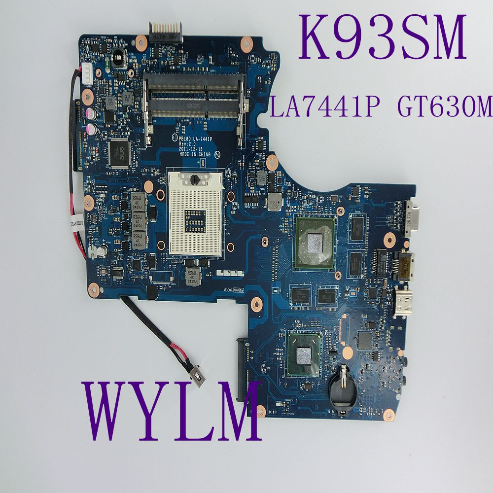 K93SM Motherboard REV 2.0 GT630M USB3.0 For ASUS LA-7441P K93SM X93S X93SM K93SV Laptop motherboard Full Tested Free shipping ipc motherboard sbc81206 rev a3 rc 100