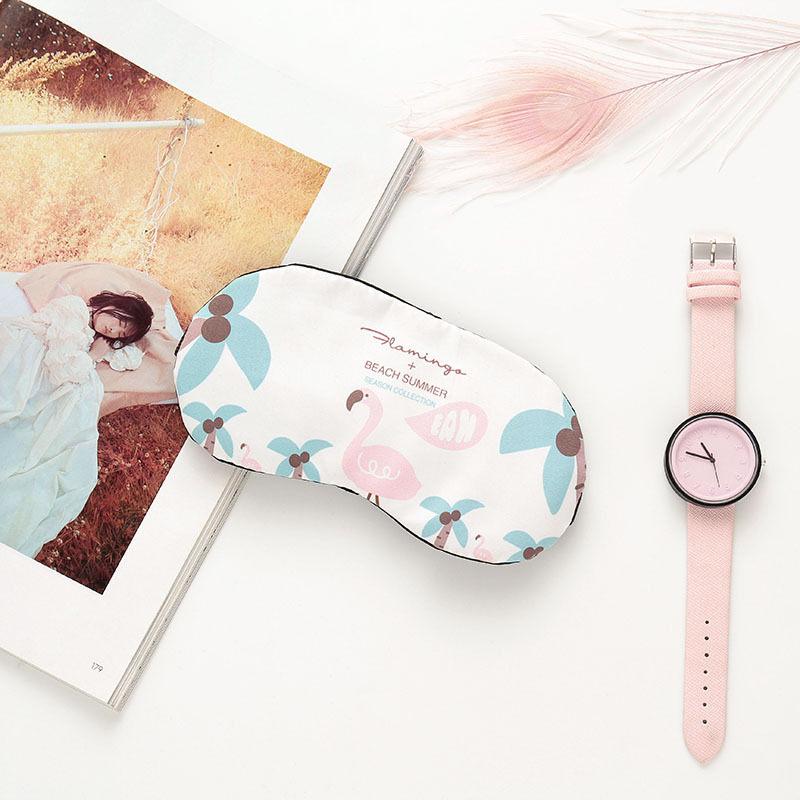 PACGOTH 2018 New Cute Cartoon Polyester Cotton Cooler Bag Korean Flamingo Creative Shading Sleeping Ice Gel Pack Eye Patch 1 PC